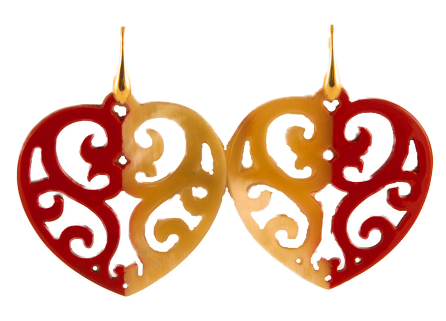 Red and natural horn hearts | Horn Earrings