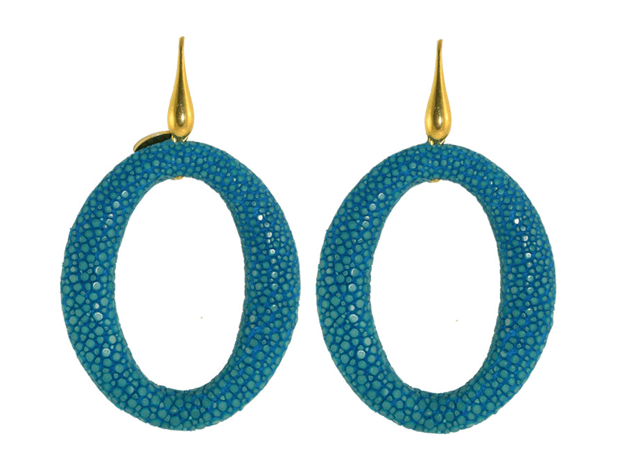 Teal stingray hoops | Skins Earrings