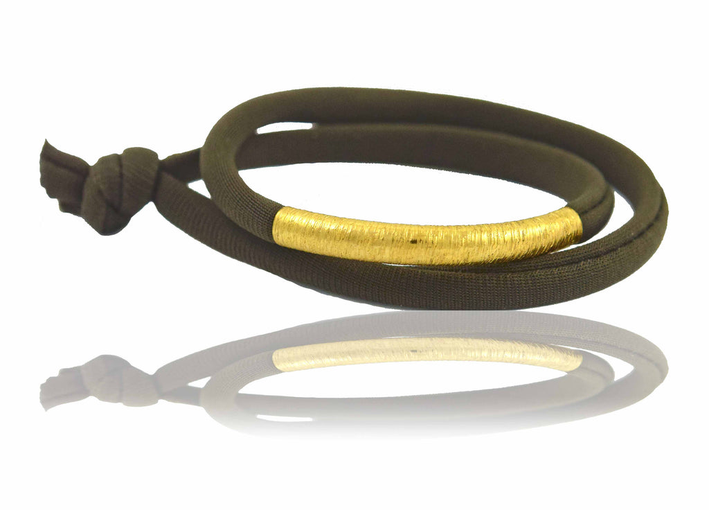 Dark Brown 14K Golden Tube Bracelet