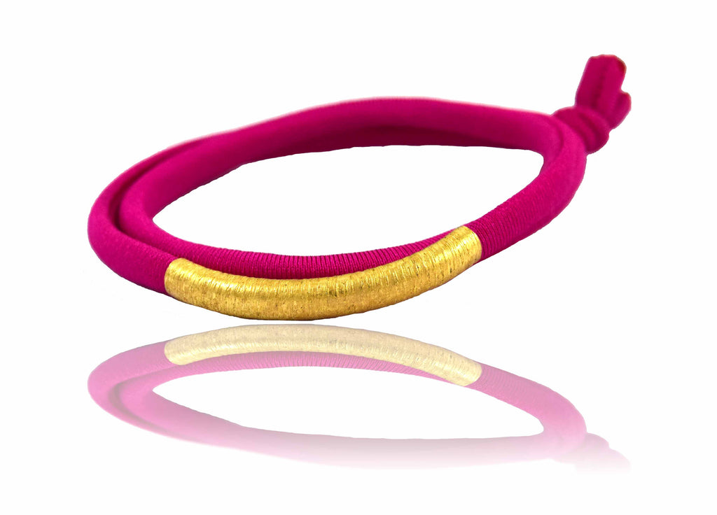 Fuchsia 14K Golden Tube Bracelet