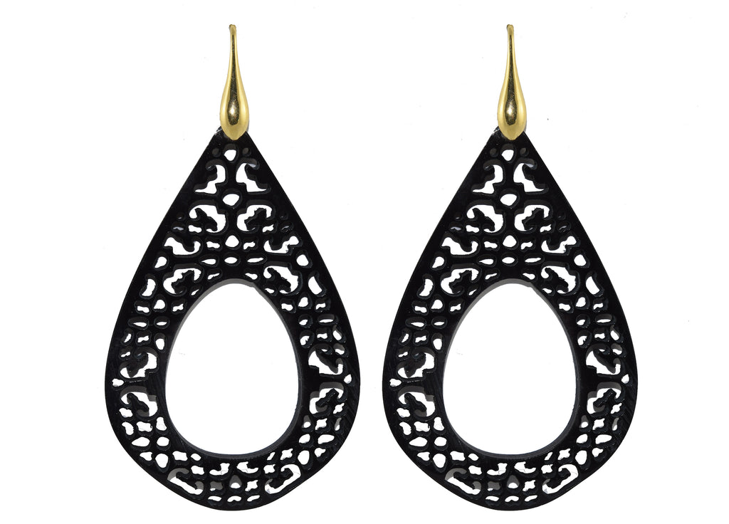 Black Horn Drops | Horn Earrings