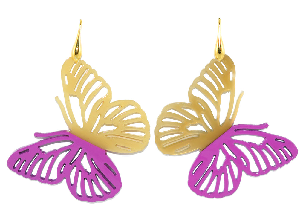 Purple and Natural Horn Butterflies | Horn Earrings