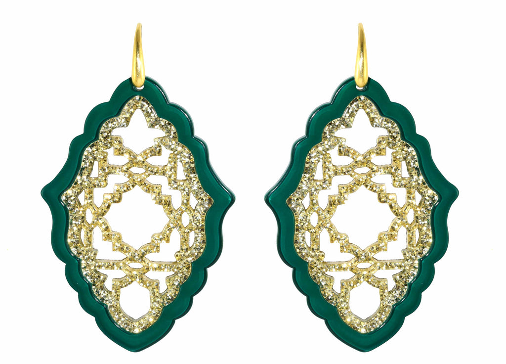 Azizi Green - Large | Resin Earrings
