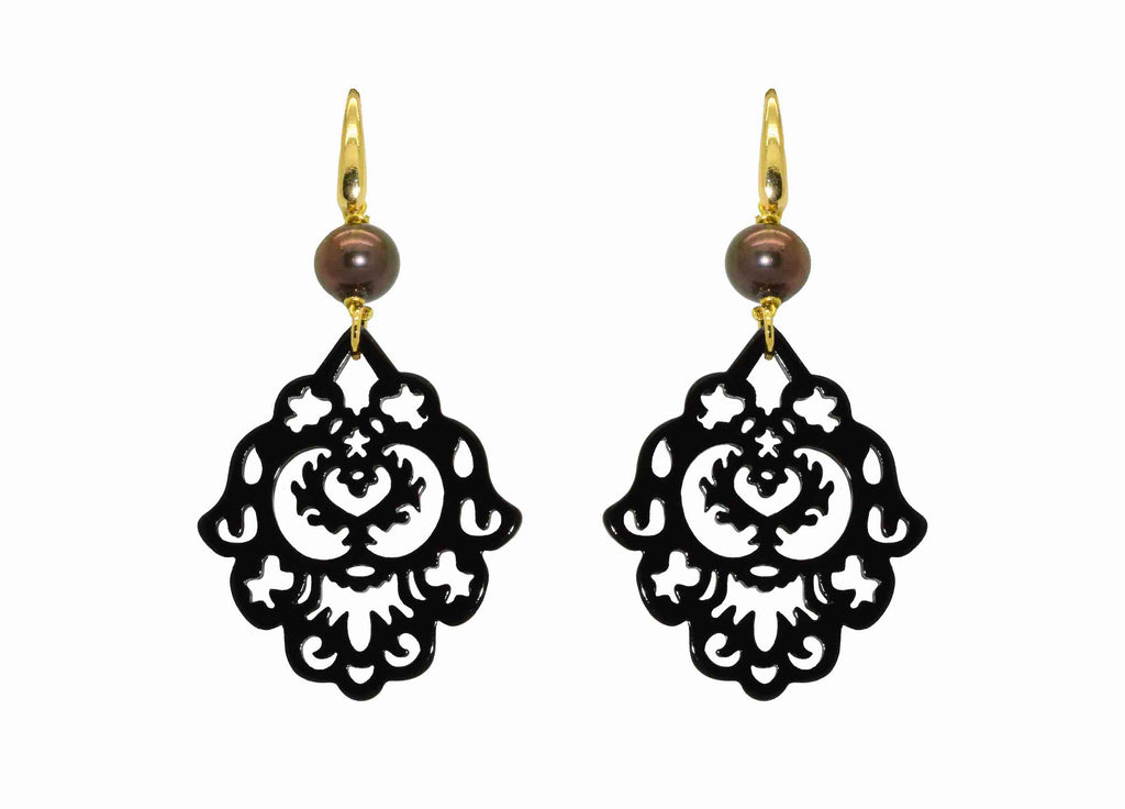 Black Ornaments With Pearls | Petite | Resin Earrings