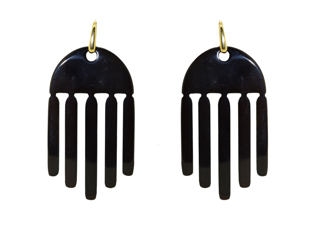 Black Horn Waterfall | Horn Earrings