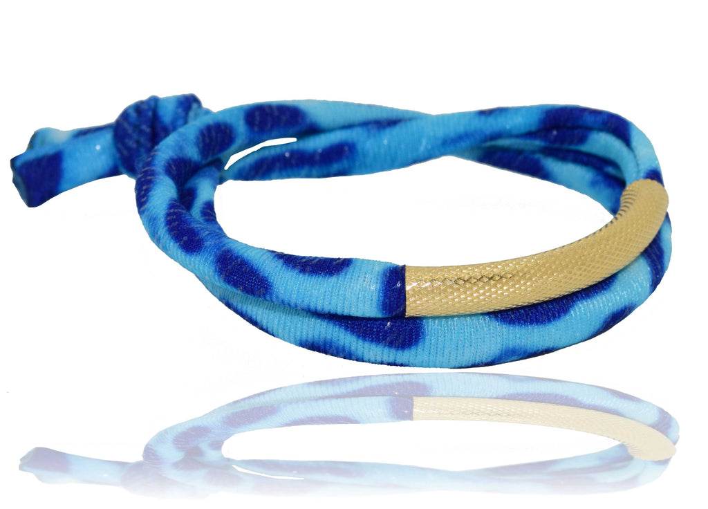 Blue Leopard 14K Golden Tube Bracelet
