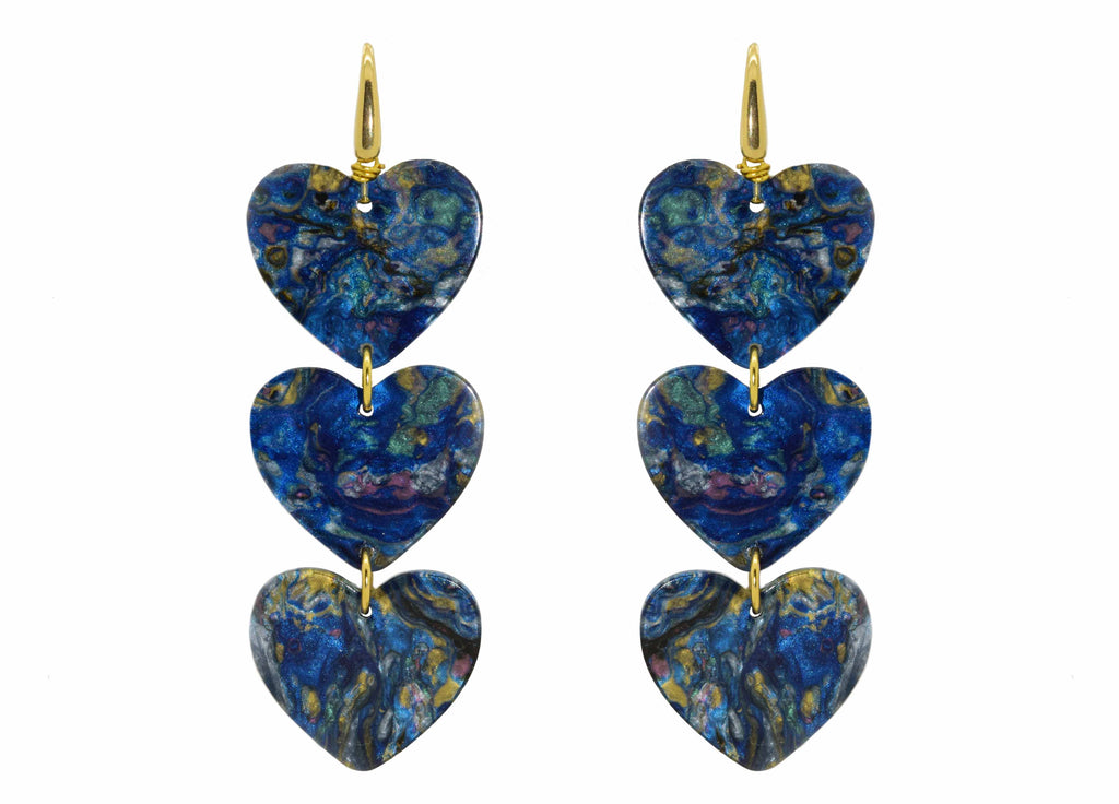 Blue Moon Hearts | Resin Earrings
