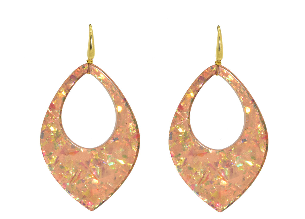 Champagne sequin drops | Resin Oorbellen