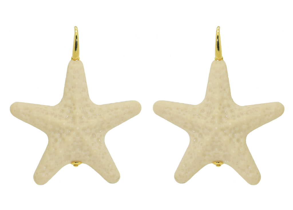 Ivory Large Starfishes | Resin Earrings
