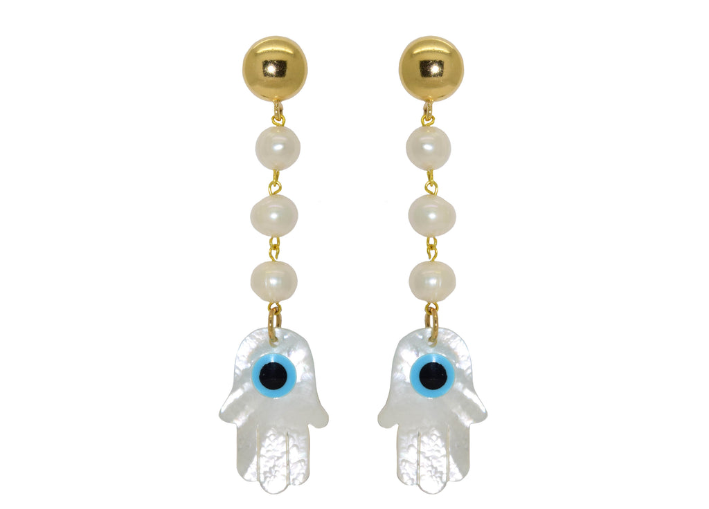 Fresh water pearls with MOP hands | Shell Earrings