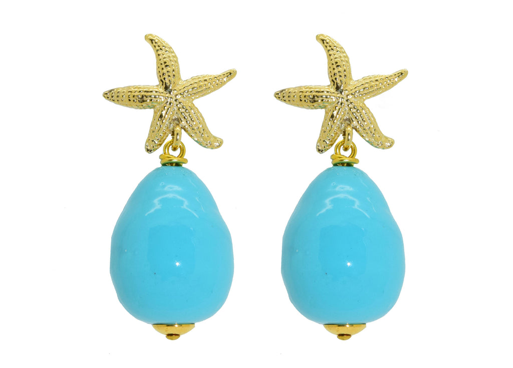 Turquoise Majorca pearl drops | Shell Earrings