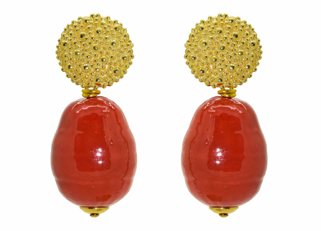 Coral Majorca Pearl Drops | Shell Earrings