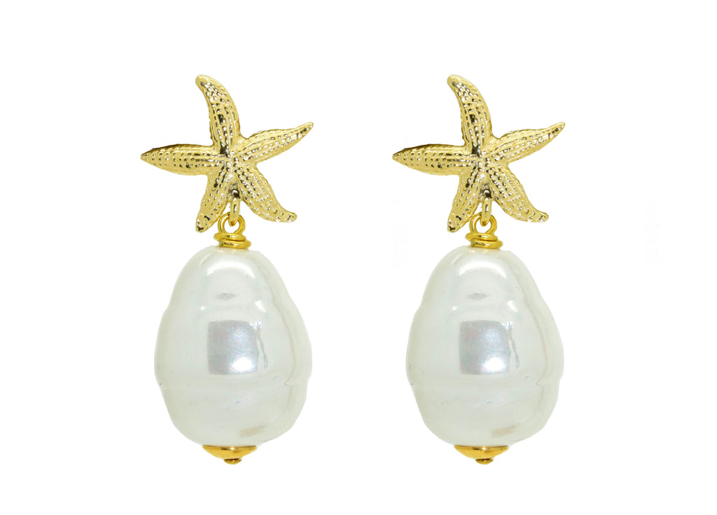 White Majorca Pearl Drops | Shell Earrings