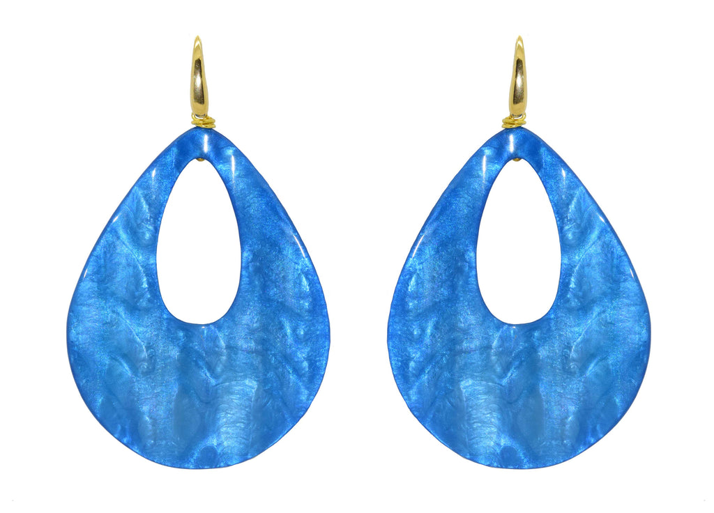 Metallic Waves Electric Blue | Resin Oorbellen