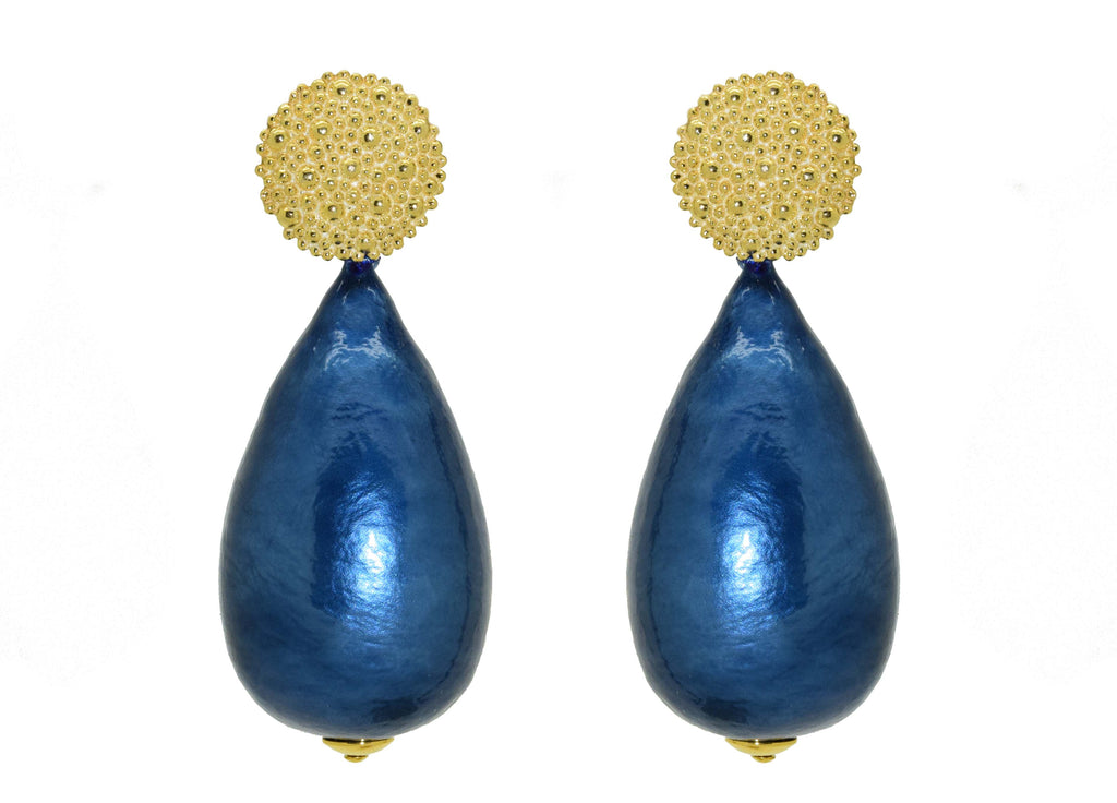 Midnight Blue Cotton Pearls | Resin Earrings