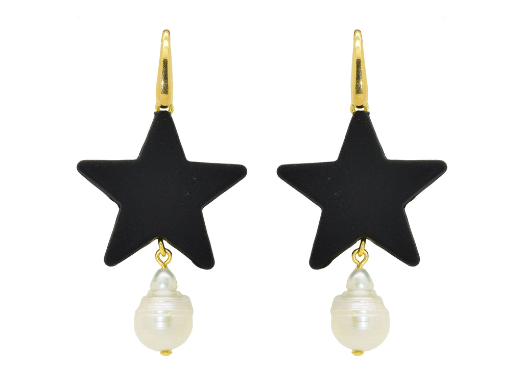 Pearl Star Black | Resin Earrings