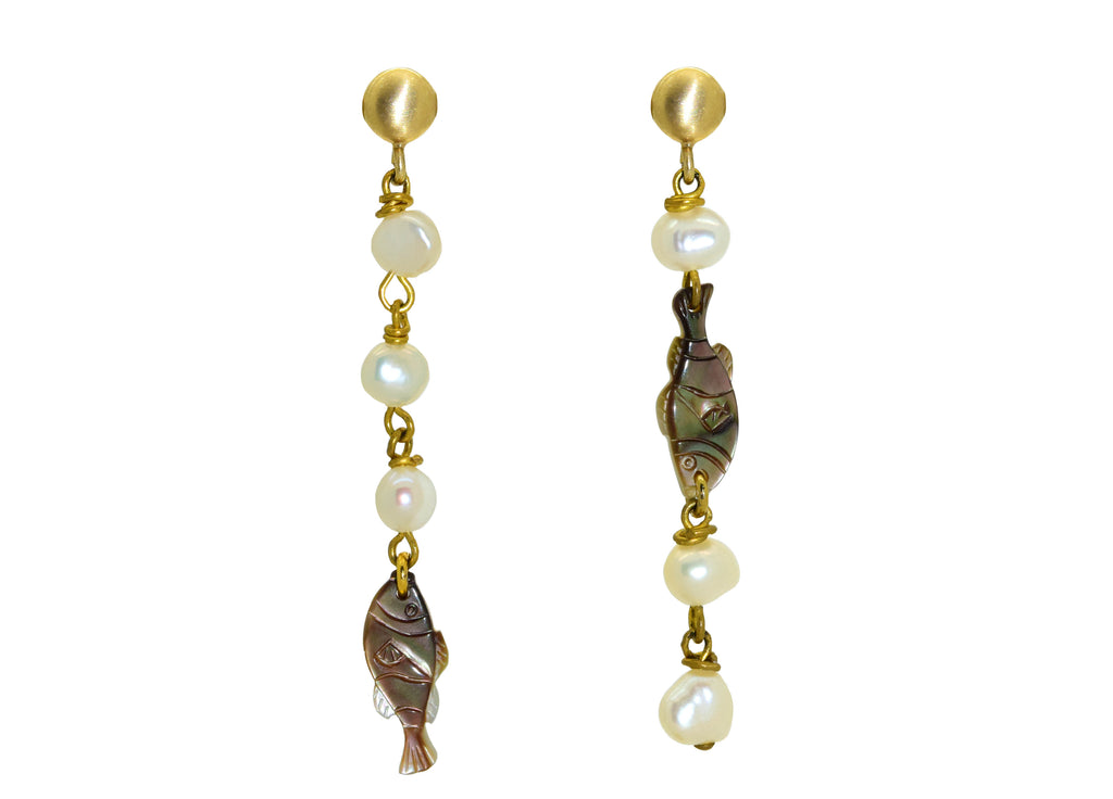 Pearls and Caviar | Shell Earrings