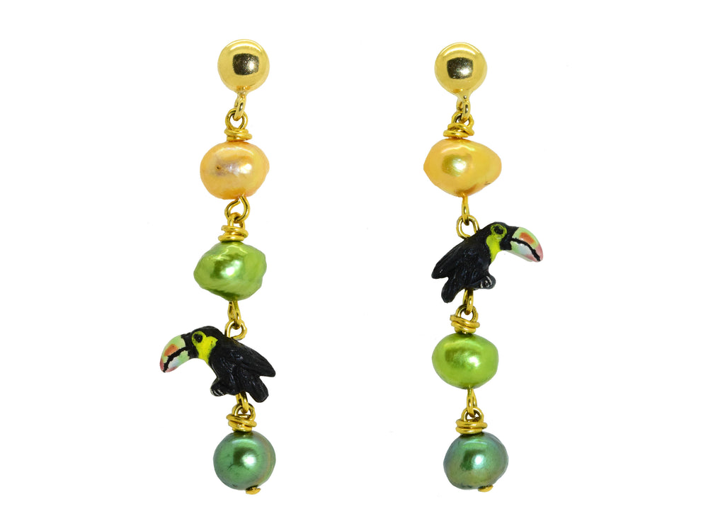 Pearly Toucans | Shell Earrings