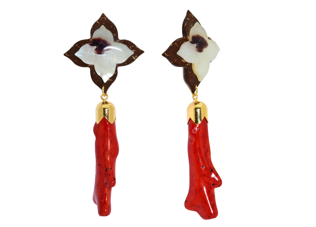 Red Coral branches with coco | Resin Earrings