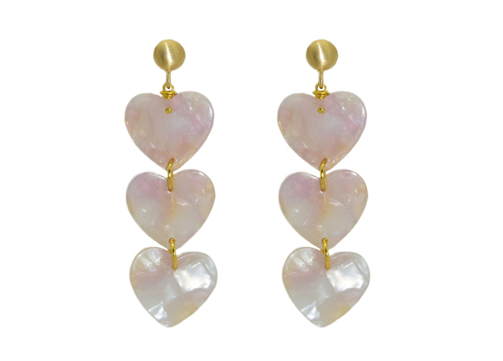 Rosy Hearts | Resin Earrings