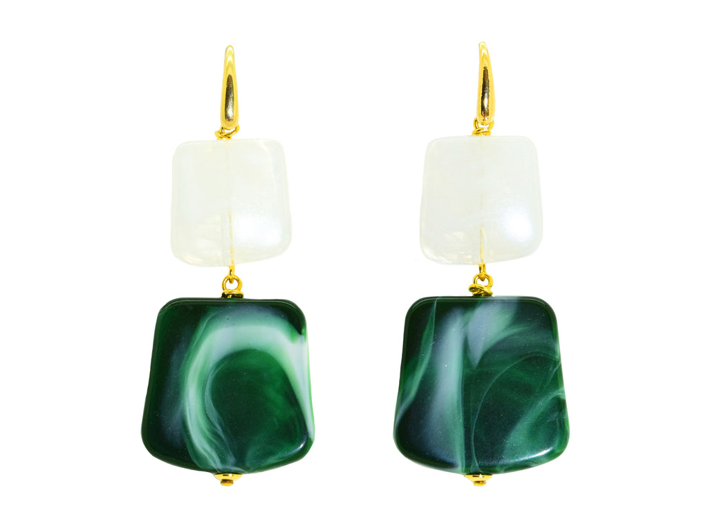 Rothko Emerald Green | Resin Earrings