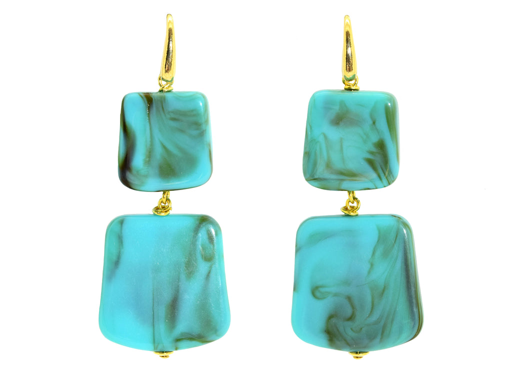 Rothko Turquoise | Resin Earrings