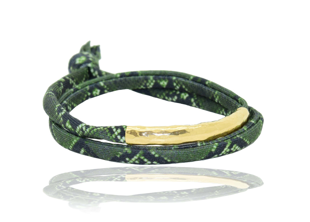 Green Snake Skin 14K Golden Tube Bracelet