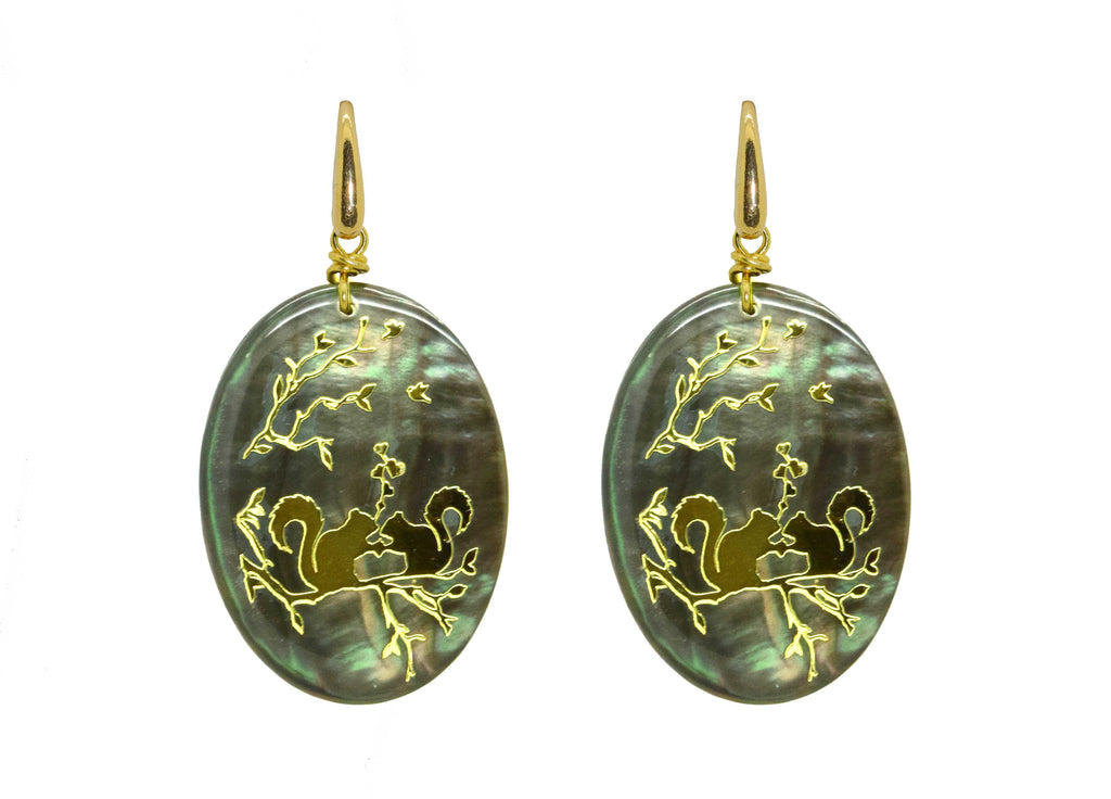 MOP Squirrel Ovals | Petite | Shell Earrings