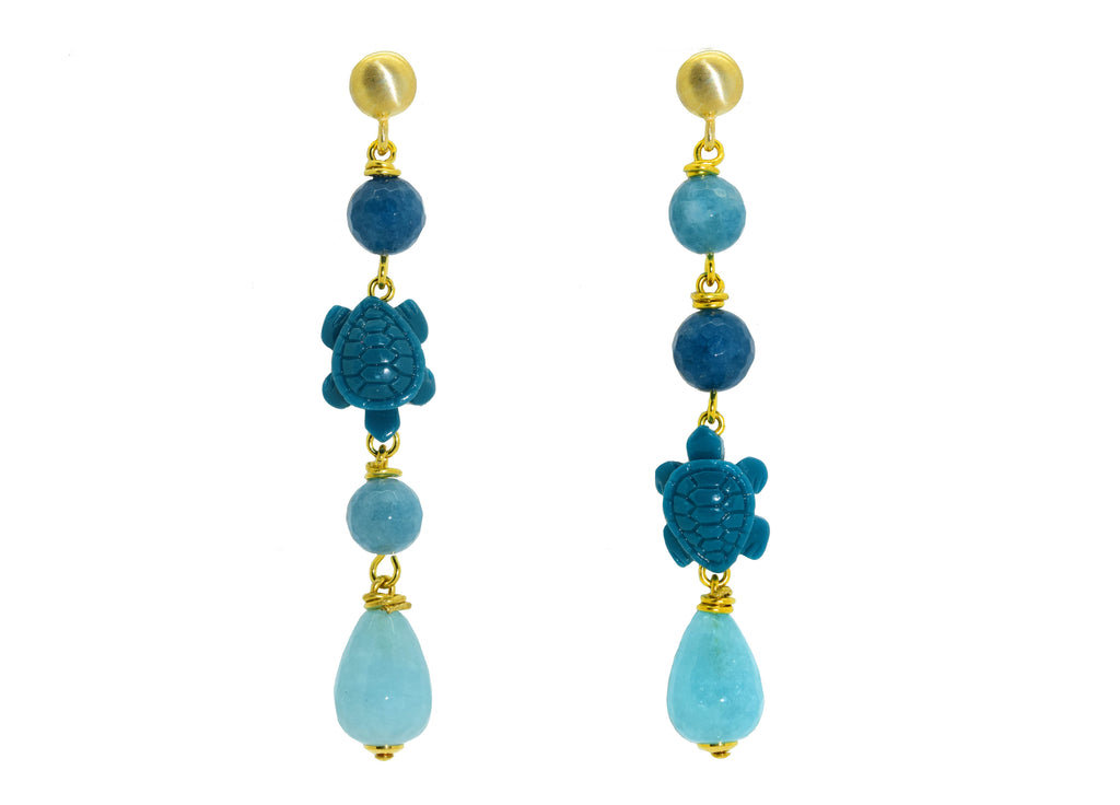 Teal Tortoises | Gemstone Earrings
