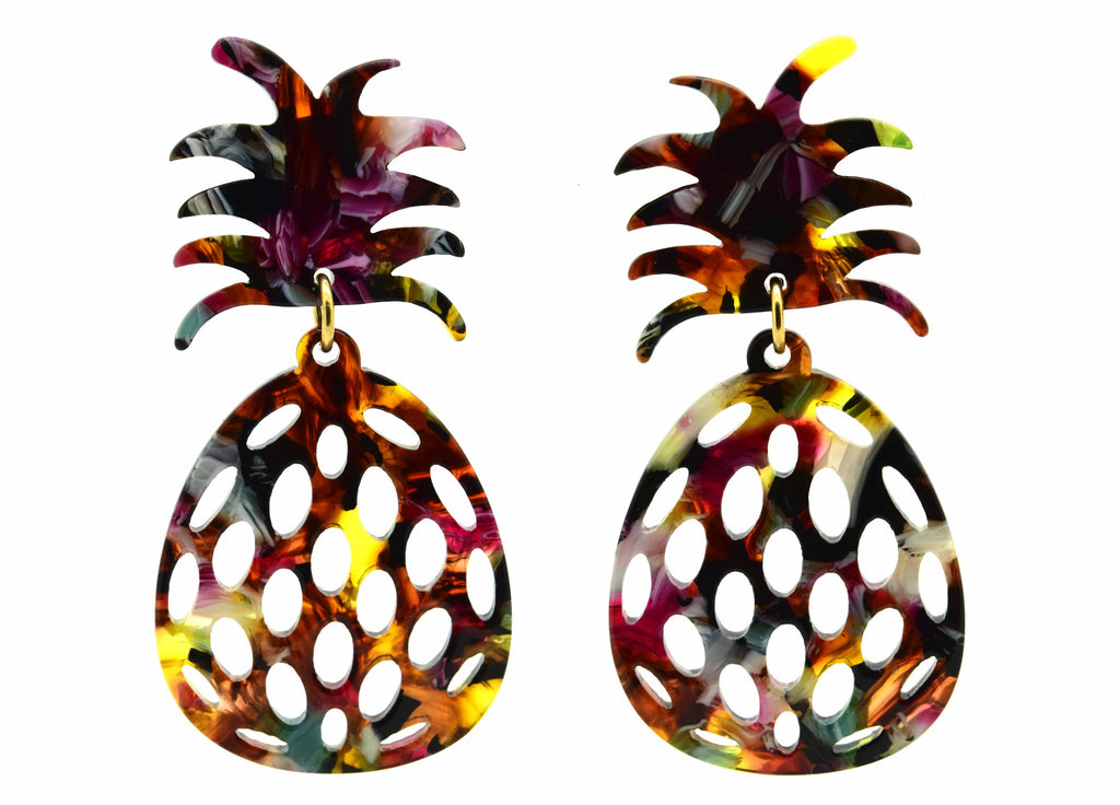 Tortoise Pineapple | Resin Earrings