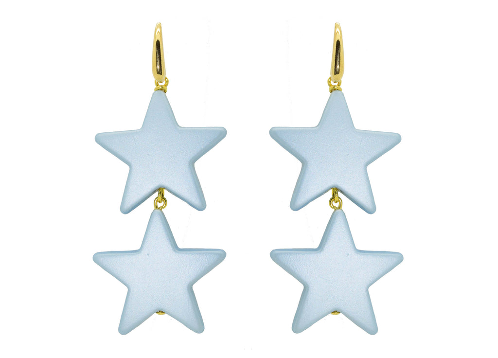 Twin Star Ice Blue | Resin Earrings