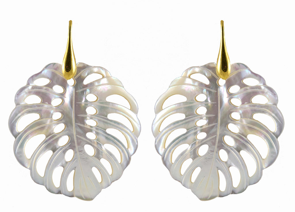 White MOP Monstera | Shell Earrings
