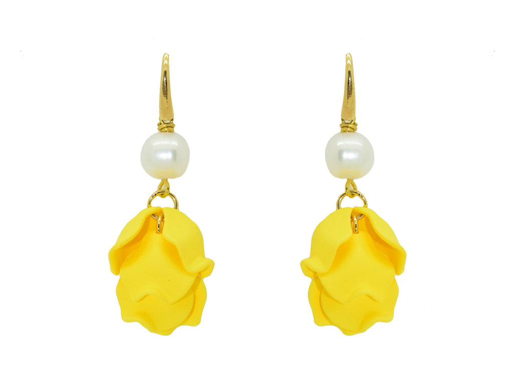 Yellow Rose Petal | Resin Earrings
