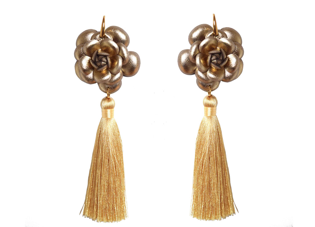 Camillia Gold with tassel | Skins Earrings