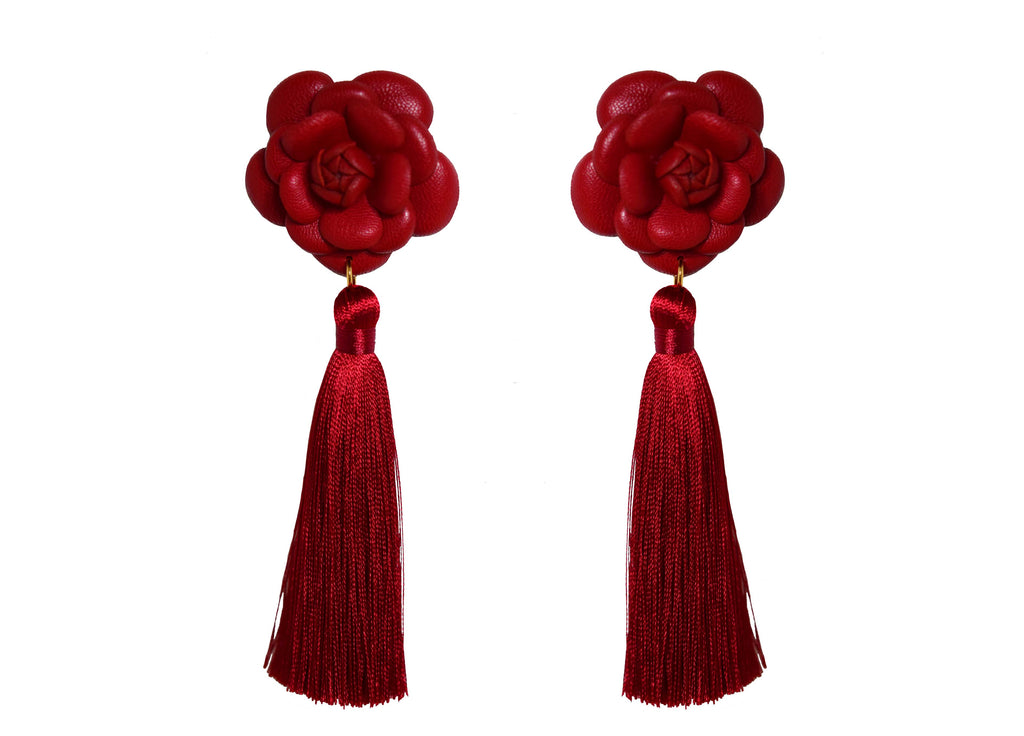 Camillia Red With Tassel | Skins Earrings