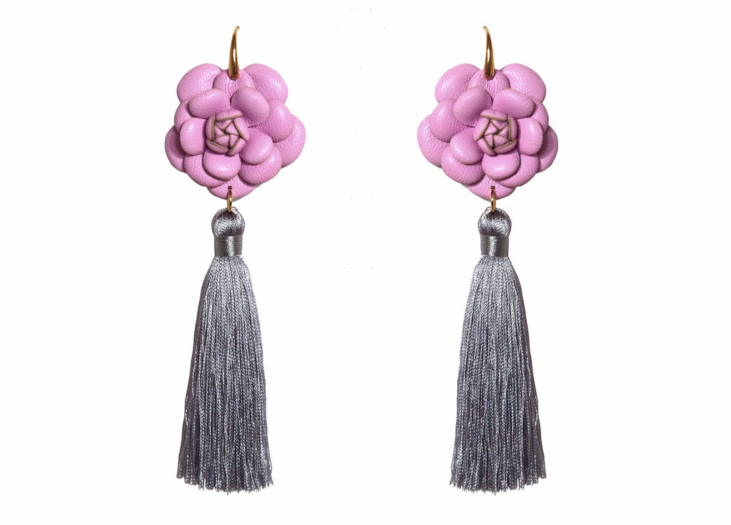 Camillia Lavender With Grey Tassel | Skins Earrings