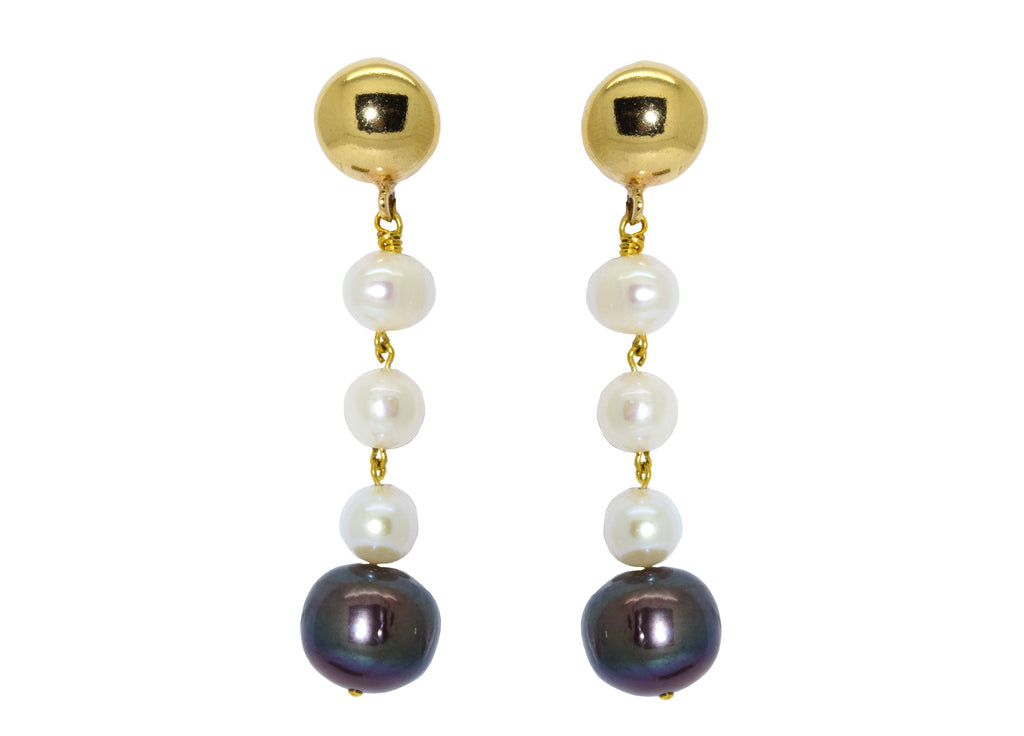 White and Black Fresh Water Pearls | Shell Earrings