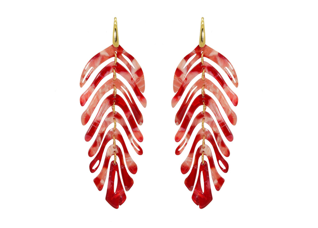 Miccy's Coral Red Leaves | Resin Earrings