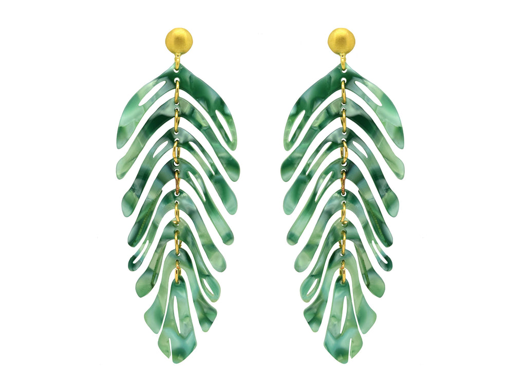 Miccy's Green Leaves | Resin Earrings