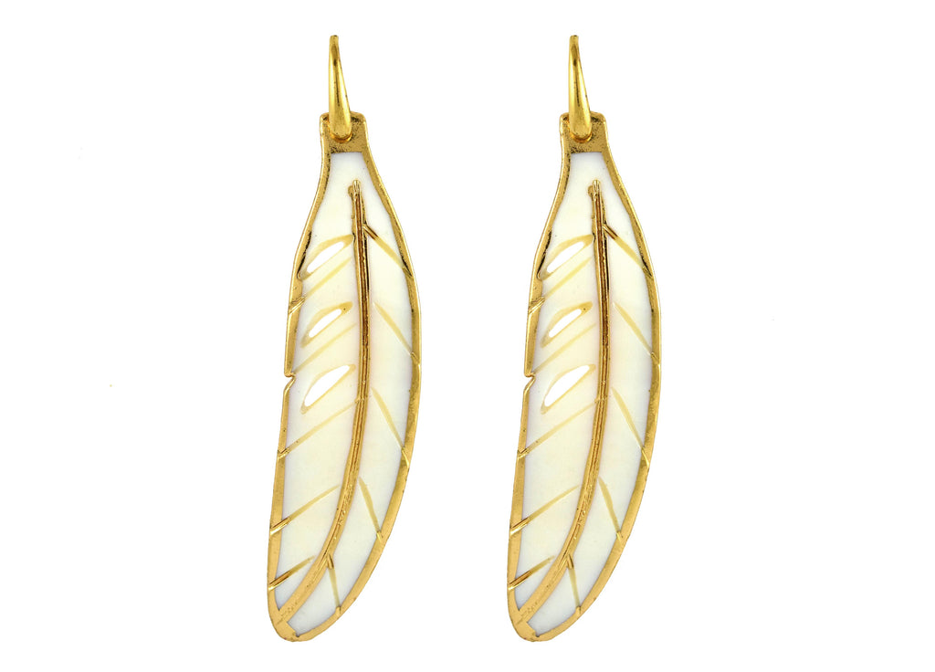 White Shell Feathers With Gold | Shell Earrings