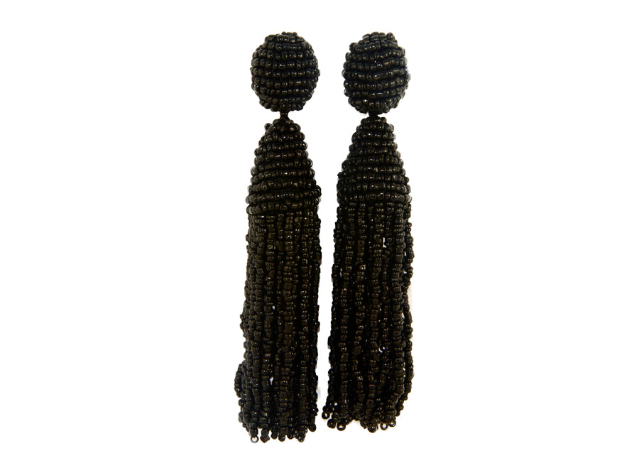 Black Long Tassels | Crystals Earrings