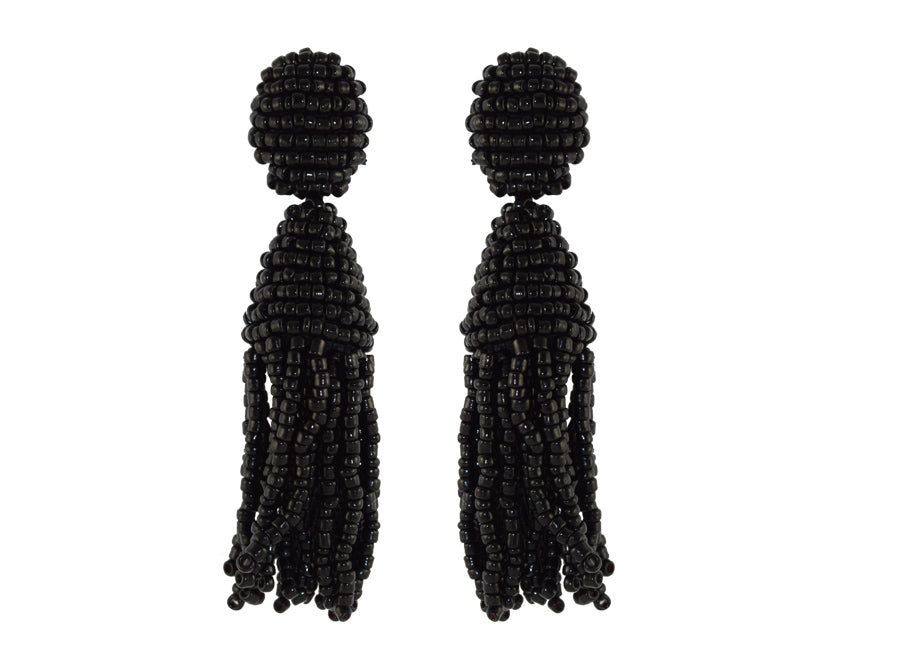 Black Tassels | Crystals Earrings