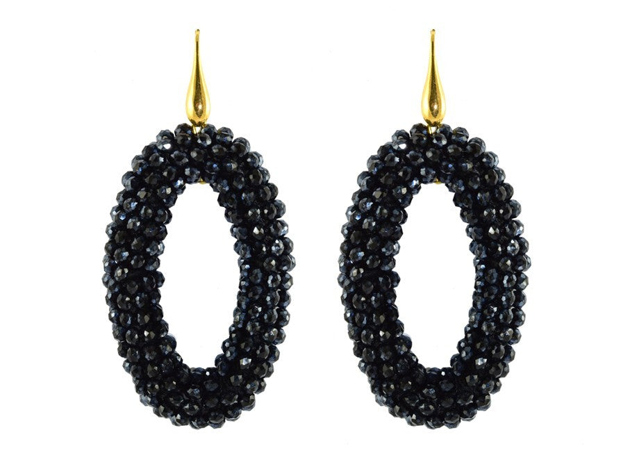Nearly Black ovals | Crystals Earrings