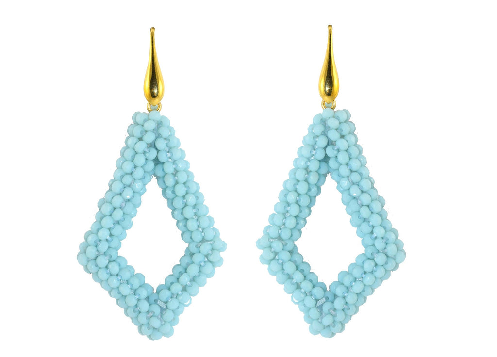 Aqua NS open drop | Crystals Earrings