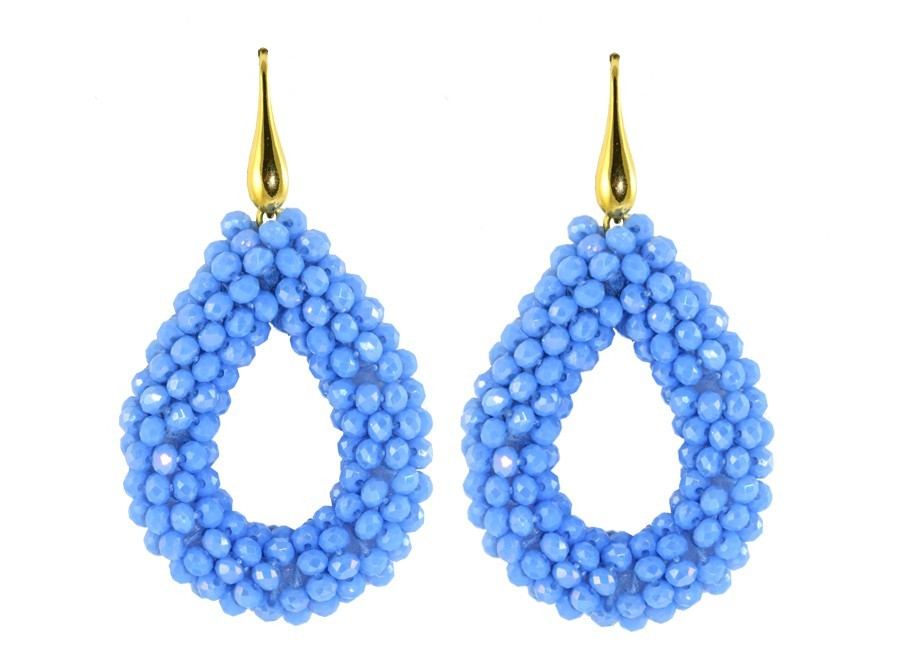 Baby Blue Open Drops | Crystals Earrings