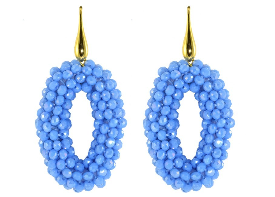 Baby blue small crystal ovals
