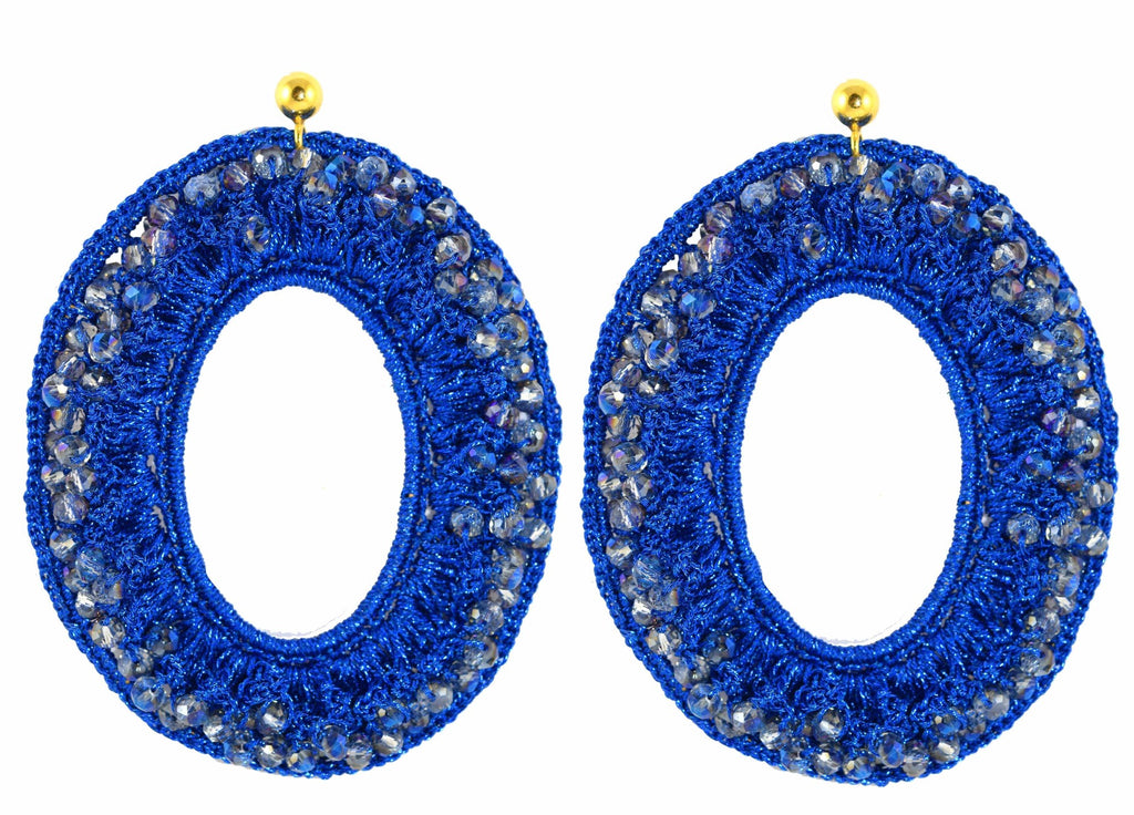 Royal Blue large Crochet Ovals | Crystals Earrings