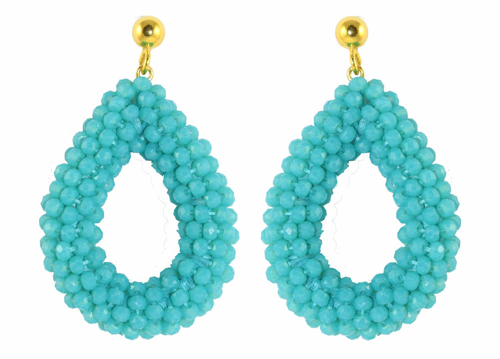 Turquoise open Crystal drops