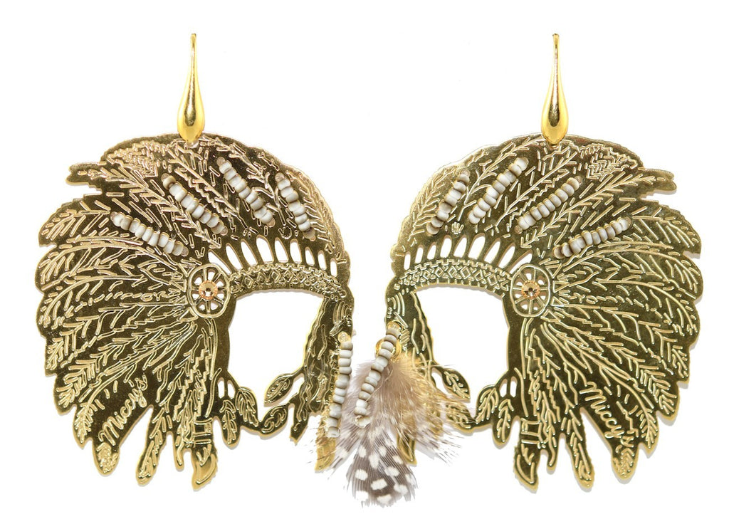 Indian Headdress | Gold Line Earrings
