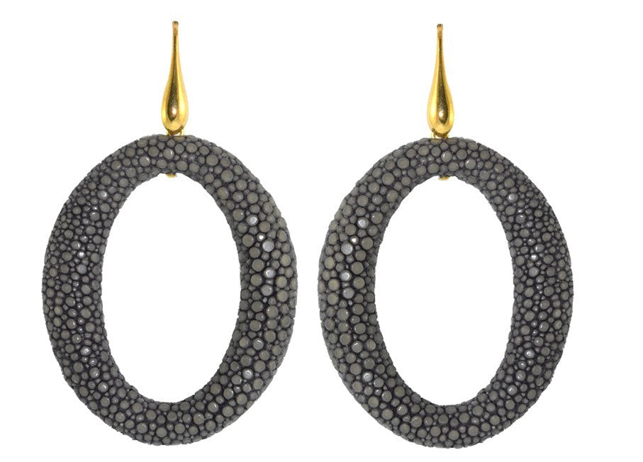 Steel grey Stingray hoops | Skins Earrings